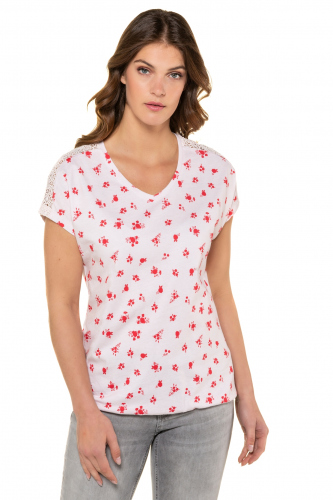 Marškinėliai nėriniuotais pečiais
